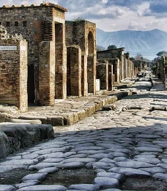 An excaveted street in Pompeii